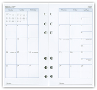 six ring monthly calendar refill pages