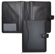 black bonded leather calendar covers with tab closures